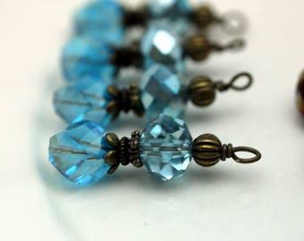 Vintge Style Seafoam Blue Rondelle and Aqua Blue Helix Crystal Bead Dangle Charm Drop Set - Earring Dangle, Charm, Pendant, Earrings
