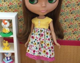Hat & Dress Set for Blythe - Lemon Flowers Set