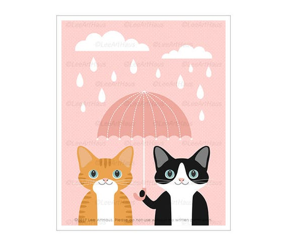 338D Cat Print - Ginger Tabby and Black and White Cat with Pink Umbrella Wall Art - Cat Lover Gift - Cat Drawing - Cat Nursery Pink Decor