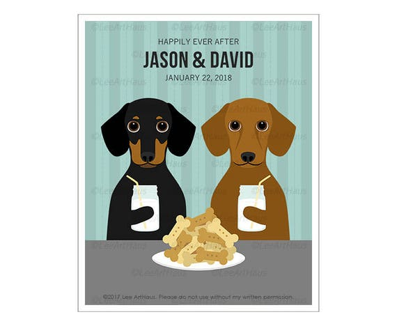 231P Custom Dog Art - Happily Ever After Dachshund Wall Art - Mr and Mr Gift - Milk and Cookies Print - Gay Couple Gift - Gift for HIm