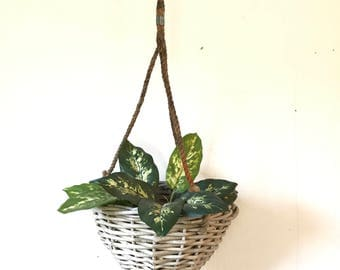 vintage rattan hanging basket - woven wicker planter - rustic white basket