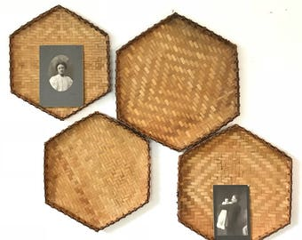 woven bamboo hexagon trays - shallow wall baskets - geometric wicker - boho brown wall decoration - Set of 4