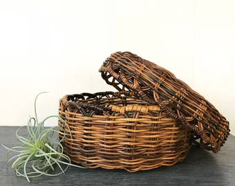vintage round lidded basket - woven brown wicker - boho home storage