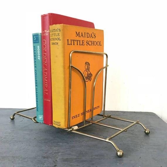 vintage brass book rack - adjustable desk top caddy - Mid Century Modern - record holder - gold metal storage rack