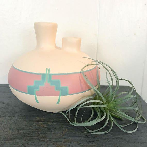 vintage Native American vase - Navajo Pueblo pottery - double neck - boho pastels Southwestern - wedding housewarming gift