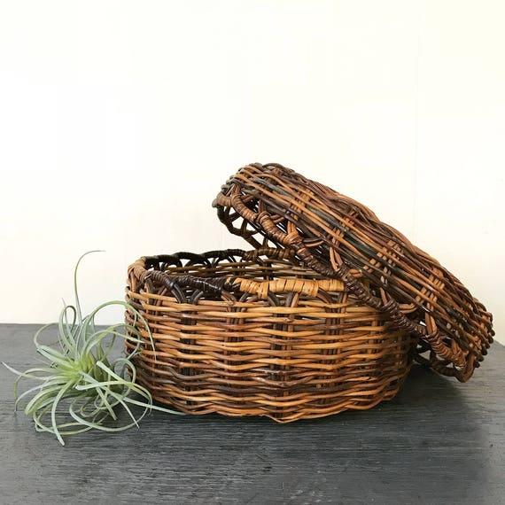 vintage round lidded basket - woven brown wicker - boho home storage