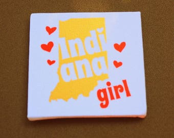 Indiana Girl Mini Canvas Magnet - Three by Three Inch