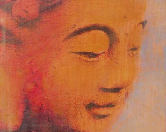 original small affordable art - Golden Buddha - one of a kind acrylic painting by Irene Stapleford - wantknot shop