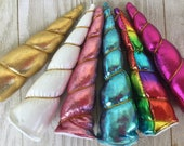 NEW--UNICORN HORNS-Indvidual or set of 5: gold, hot pink, light pink, blue rainbow or white
