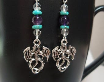Silver Dragons - Amethyst Genuine Turquoise and Clear Quartz Crystal Sterling Silver Dangle Earrings