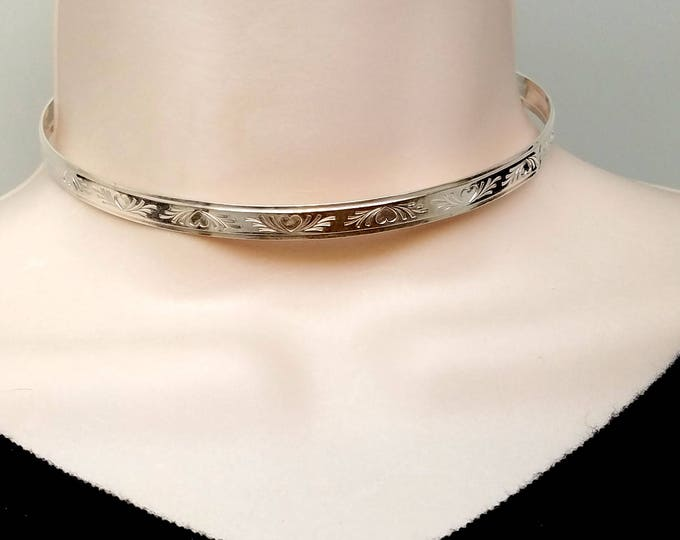 """Featured listing image: 14"""" In Stock Sterling Silver Locking Slave Collar Bas Relief Heart Motif With Stainless Clasp"""