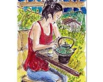 At The Tea House, Original Painting. Original Watercolor, Tea Wall Art, Woman Painting, Tea Pot, Tea Artwork, a Cup of Tea, Tea Room Decor