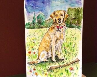 Golden Retriever, Hand Painted Card,  Original Watercolor Card, Dog Artwork, Golden Retriever Gift, Card to Frame, Dog Portrait
