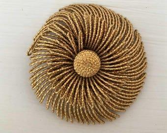 Vintage Gold Monet spiral Brooch