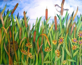 Cattails and Marsh Wren an original watercolor