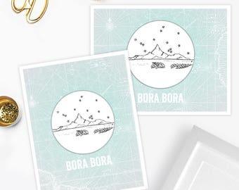 Bora Bora Island - Asia/Pacific - Instant Download Printable Art - Vintage City Skyline Map Series