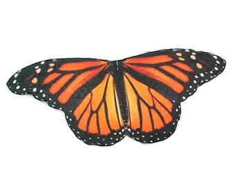 Vivid Monarch Butterfly Scarf 4.5 feet wide, Butterfly Cape, Fairy Wings, Butterfly Gift, Orange and Black, Butterfly Wrap Halloween Costume