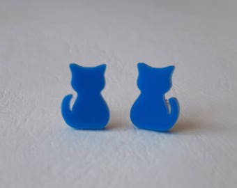 Mini cats ♥ Stud Earrings ♥ ♥ sky blue