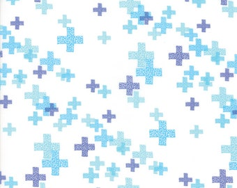 MODA Modern BG Background Colorbox Geometric Pluses White Light Periwinkle Blue 1644 13 Yardage by Brigitte Heitland of Zen Chic