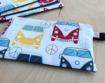 One Zipped Cash Envelope - VW Love Bus - US Dollar Bill or Change Purse - Just the Envelope