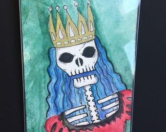 ACEO Original Watercolor Skeleton Queen