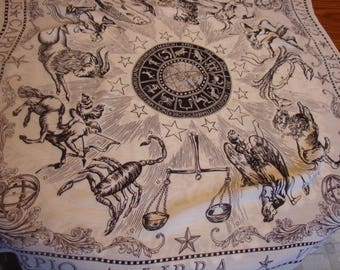 Vintage Astrology Scarf, 30 by 32 inches, Black and White, Rayon, Birthday Scarf, Wall hanging