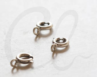 10 Pieces Oxidized Silver Plated Brass Spring Ring Round Clasp - 6mm (338C)