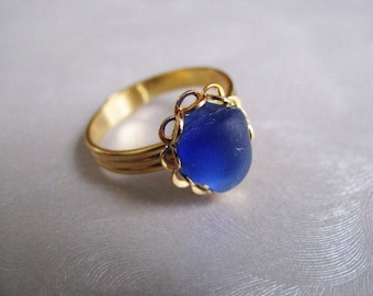Cobalt Blue Sea Glass - Beach Glass Ring - Sea Glass Ring - Beach Glass Jewelry - Ocean Jewelry Gifts of the Sea - Pure Sea Glass