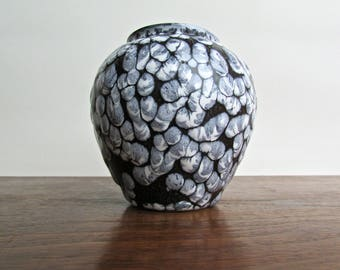 Lapid Israel Fat Lava Vase in Blue-Black and Grey-Blue, Textural and Seductive