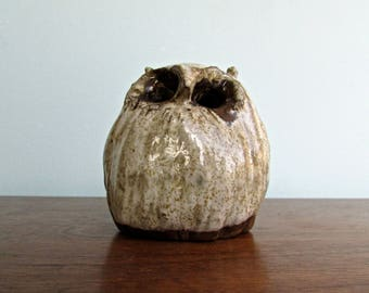 Studio Art Pottery Owl, Hand Built & Haunting, Gorgeous Dark-Brown Stoneware w/ Houhin White Glaze
