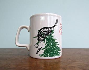 Kliban Cat Mug, Bah Humbug - Kiln Craft Made in Stratfordshire Potteries-England Vintage 1980