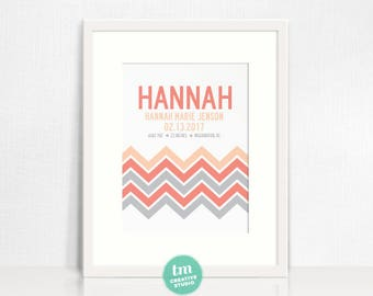 Custom Birth Announcement // Nursery Print // Modern  Chevron Birth Stat Poster // Adoption Announcement