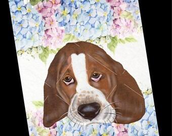 Dog Card-Basset Hound Greeting Card-Blank