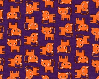 Clearance FABRIC HALLOWEEN Orange Cats on Purple  by Robert Kaufman