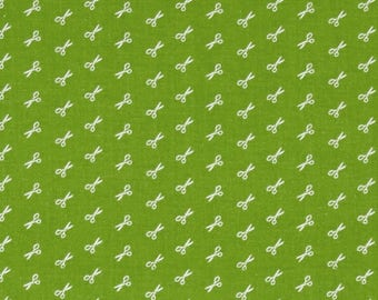 FABRIC Fat Quarter Scissors Bee Basics Green   Fat Quarter    We combine shipping