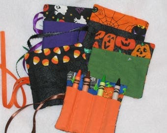 Halloween Mini crayon rolls party packs - hold 4 crayons School parties and treats