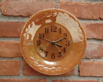 "Anchor Hocking's Peach Lustre LAUREL WREATH Pattern 9"" Diameter  Custom Made Plate Clock"