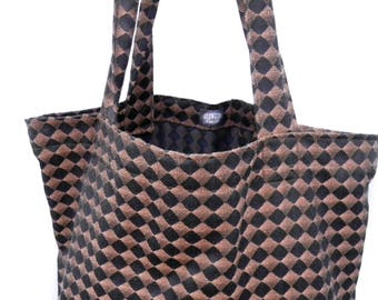 Grocery Market Carry All Tote Bag Black and Brown Checked