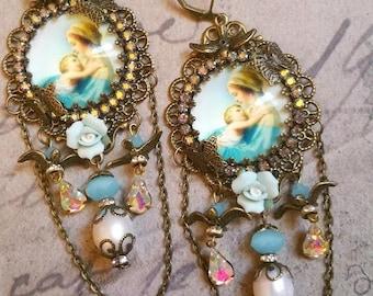 """Boucles style shabby chic romantique """"Vierge Marie """" bleu opaline"""