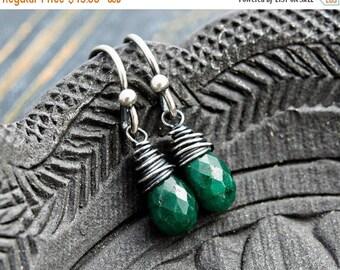 Emerald Earrings, Drop Earrings, Dangle Earrings, Wire Wrapped, Sterling Silver, May Birthstone, Emerald Green, Birthstone Jewelry, PoleSta