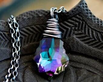 Crystal Necklace, Swarovski Crystal, Crystal Jewelry, Rainbow Crystal, Sterling Silver, Prism, PoleStar, Purple, Indigo, Green, Pendant