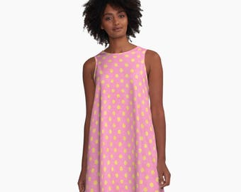 Dress - Pink and Yellow - Unique Design Primitive Rustic Old Effect