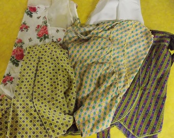 Lot 5 vintage half aprons, heart shape apron, uneven hems, floral, geometric, home made and one brand name