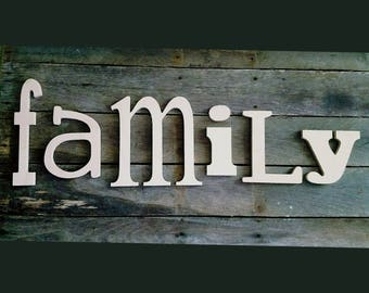 Family, Wooden Letters,  unpainted wooden wall hanging