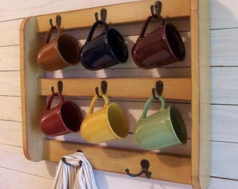 Farmhouse Coffee Mug Rack with Hooks Cup Rack Wooden Cup Shelf Farmhouse Style Storage Primitive Finish Color Choice Handmade