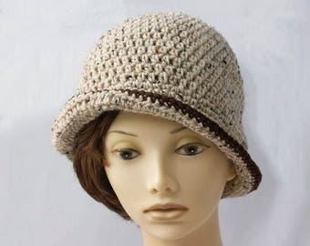 Beige Crochet Hat, 1920's Flapper Hat,  Beige Brown Tweed, Oatmeal,  Woman's Hat, Autumn Winter Hat, Ready to Ship
