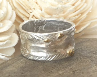 size 7 1/4 silver ring band, solid silver ring band, boho engraved statement ring, OOAK ring,