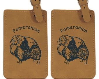 Pomeranian Standing Luggage Tag 2 Pack L3734