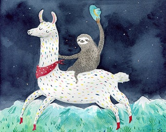 Sloth and lama A4 print - Riding in the mountains watercolour illustration