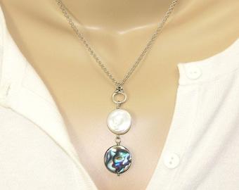 Paua Shell & Freshwater Pearl Drop Pendant Necklace, Handmade New Zealand Abalone Pendant